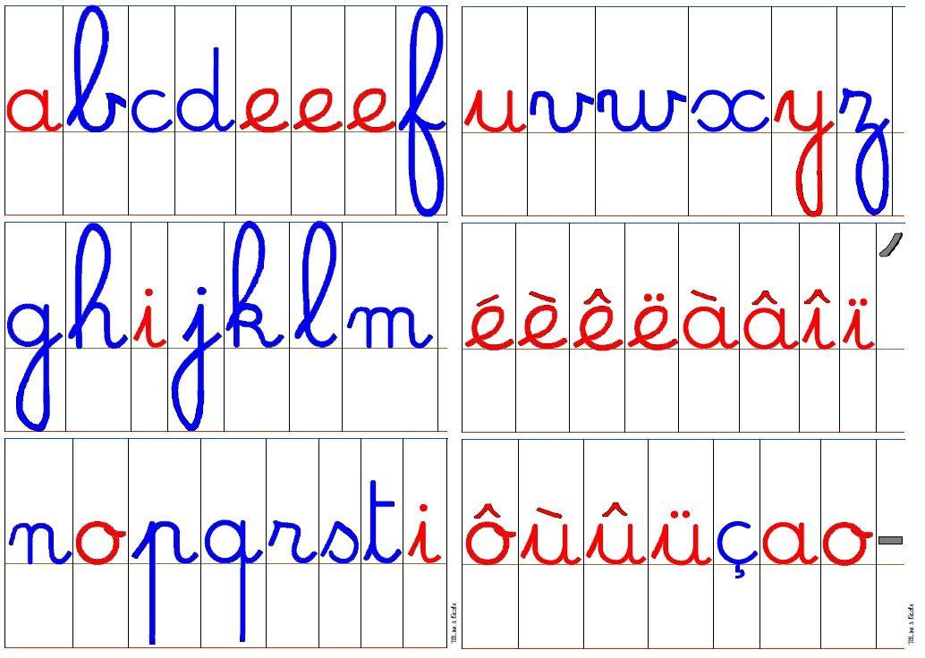 Lettres cursives alphabet ab c daire abc lettering cursive et montessori - Lettres a imprimer ...