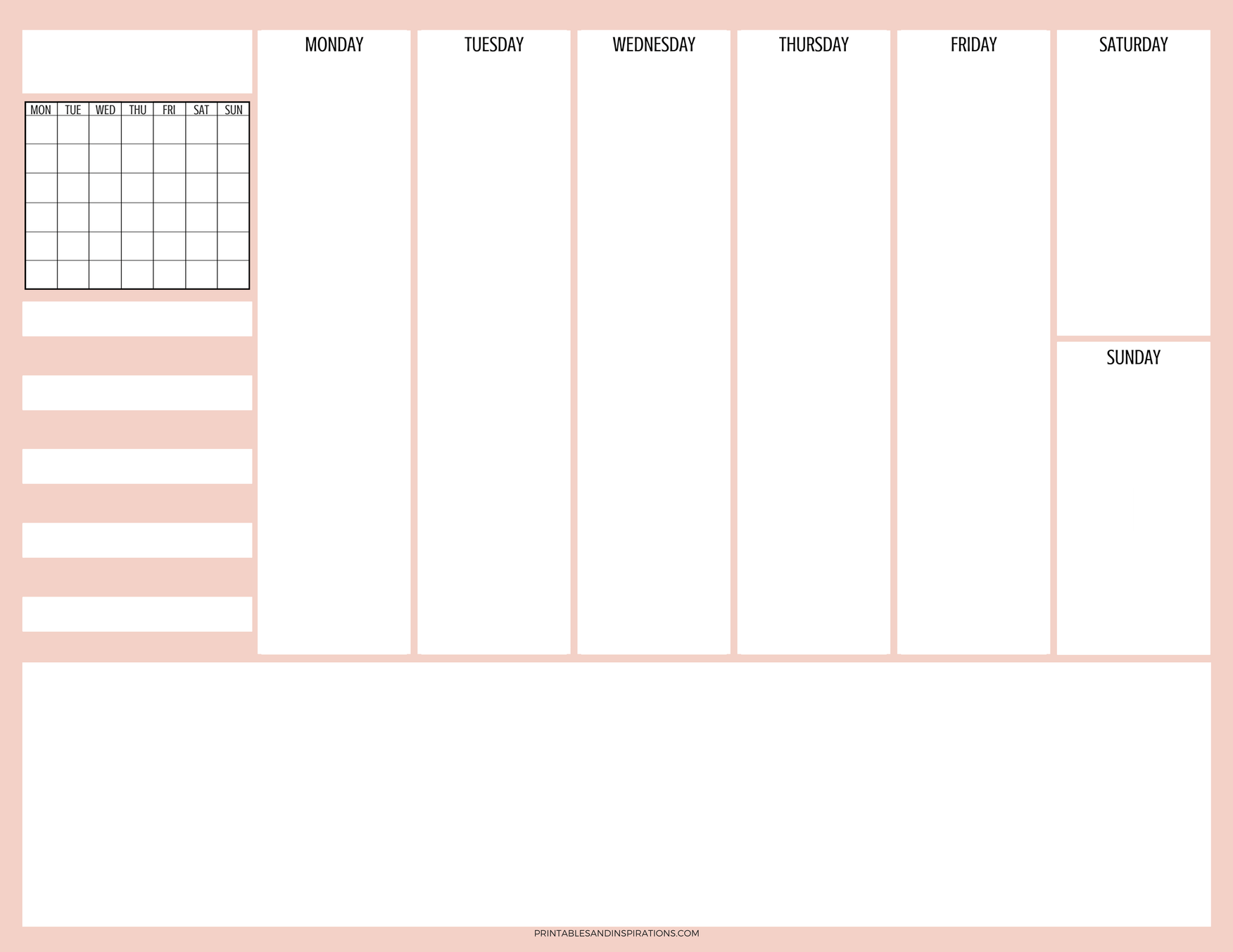 photograph relating to Blank Planner called Cost-free Printable Weekly Planner With Regular Calendar