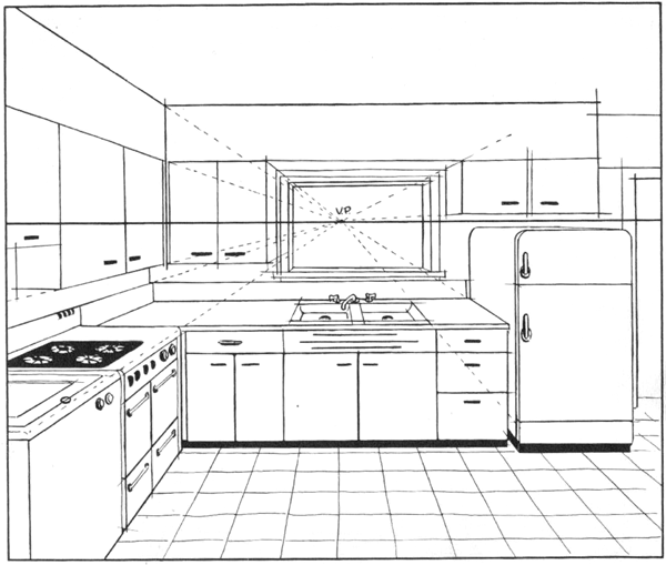An Interior Sketch Of A Kitchen In One Point Perspective