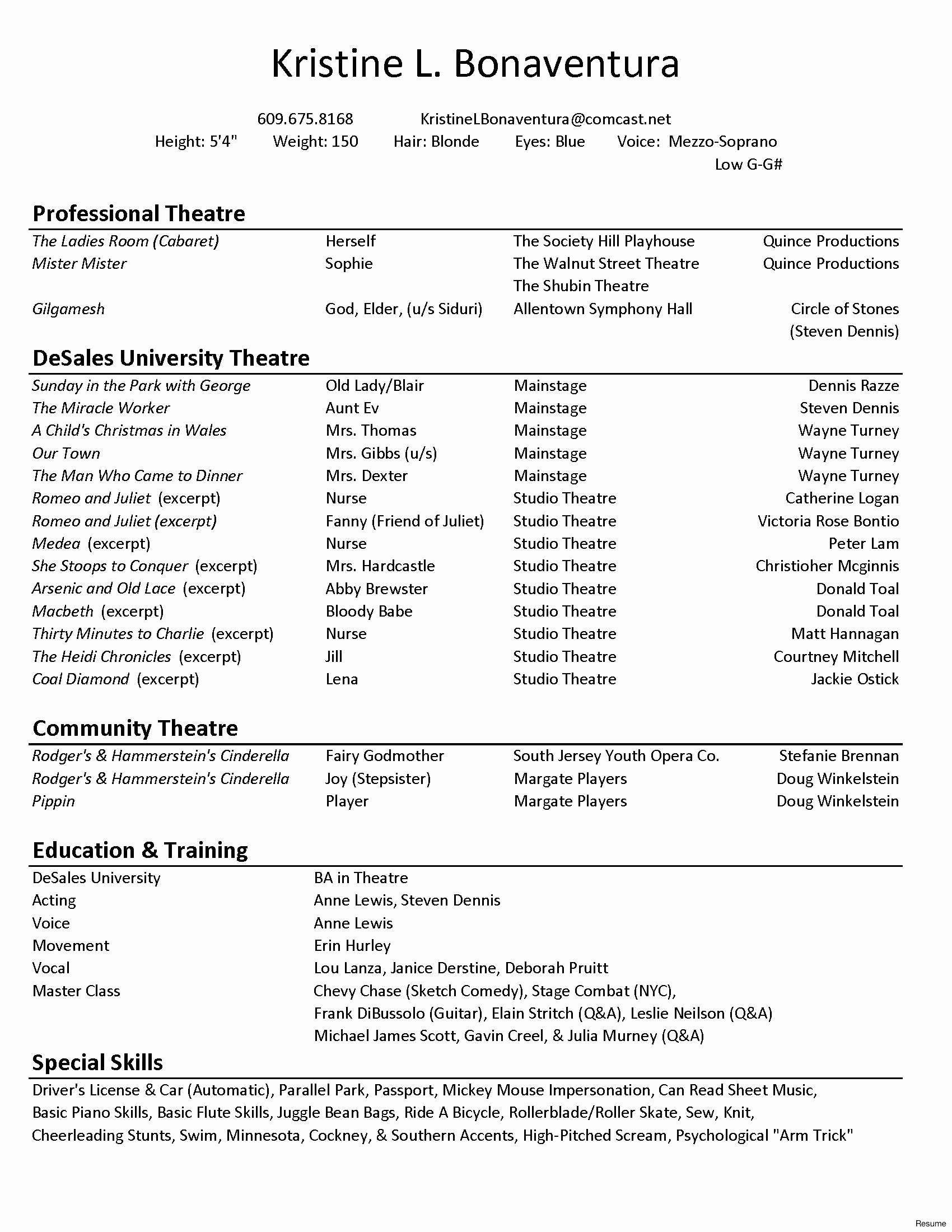 Technical Theatre Resume Template Inspirational Technical Theatre Resume Template Acting Resume Acting Resume Template Resume Template