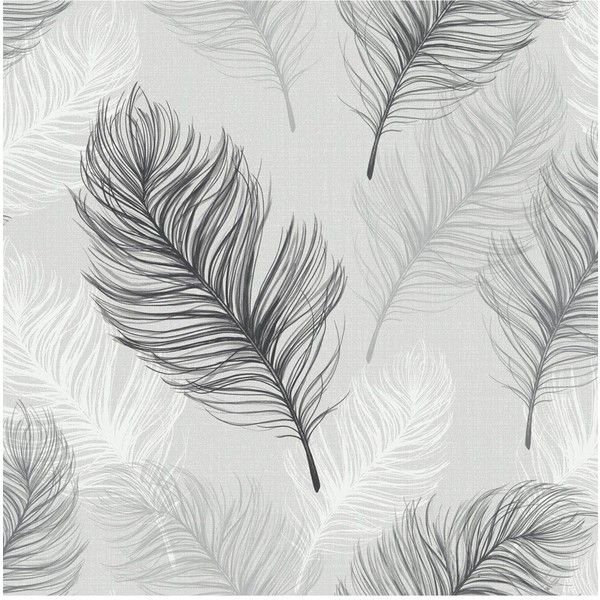 Arthouse Whisper Black Amp White Wallpaper 19 Liked On Polyvore Featuring Home Feather