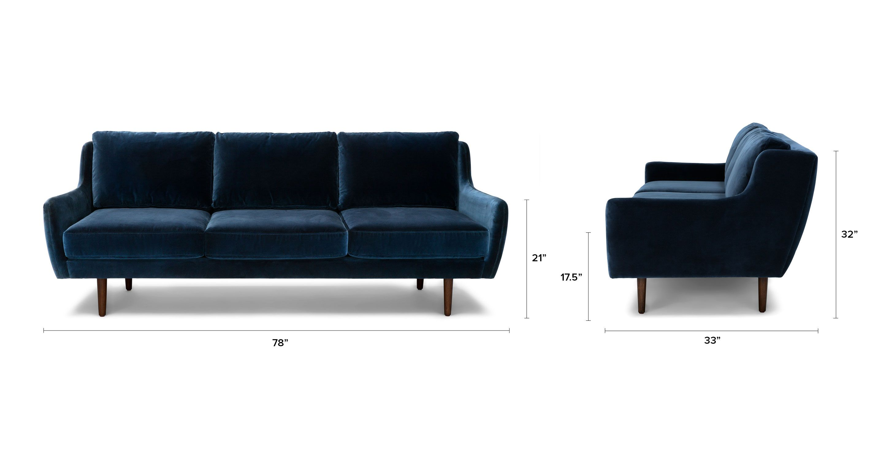 Blue Velvet Sofa Walnut Wood Legs