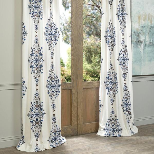 Exclusive Fabrics Kerala Blue Printed Cotton Twill Single Curtain