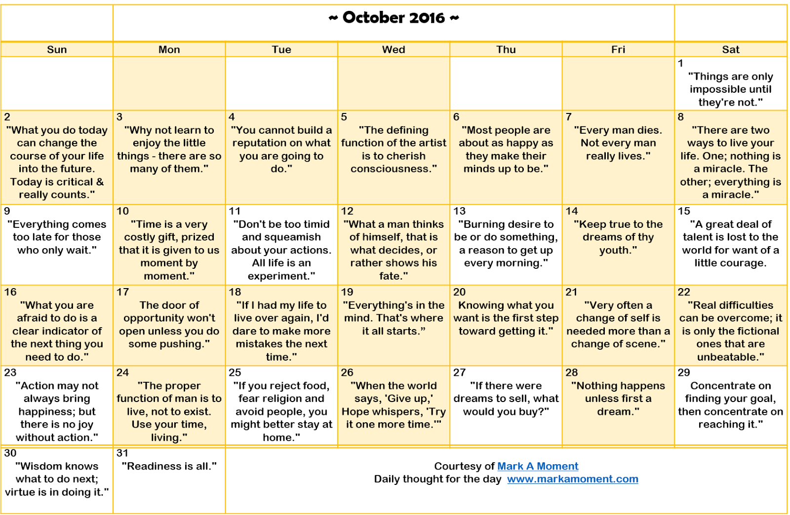 Motivational Quotes Calendar Monthly