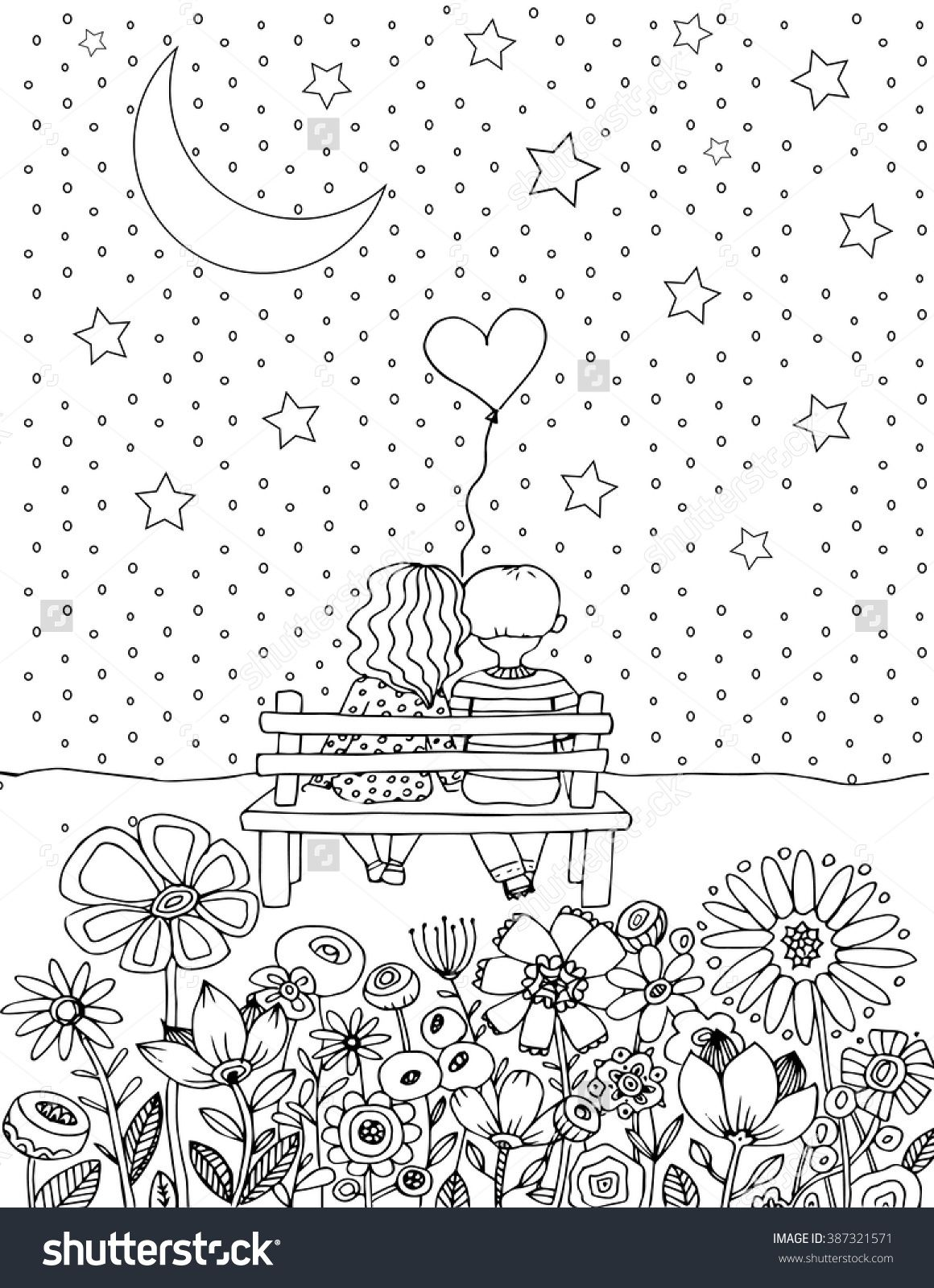 Love Vector Illustration Coloring Page