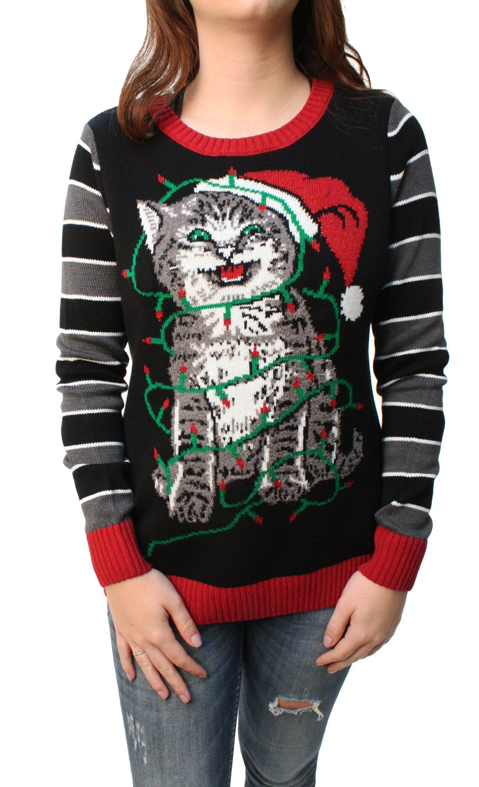 Ugly Christmas Sweater Women\'s Tangled Kitten in Lights LED Light Up ...