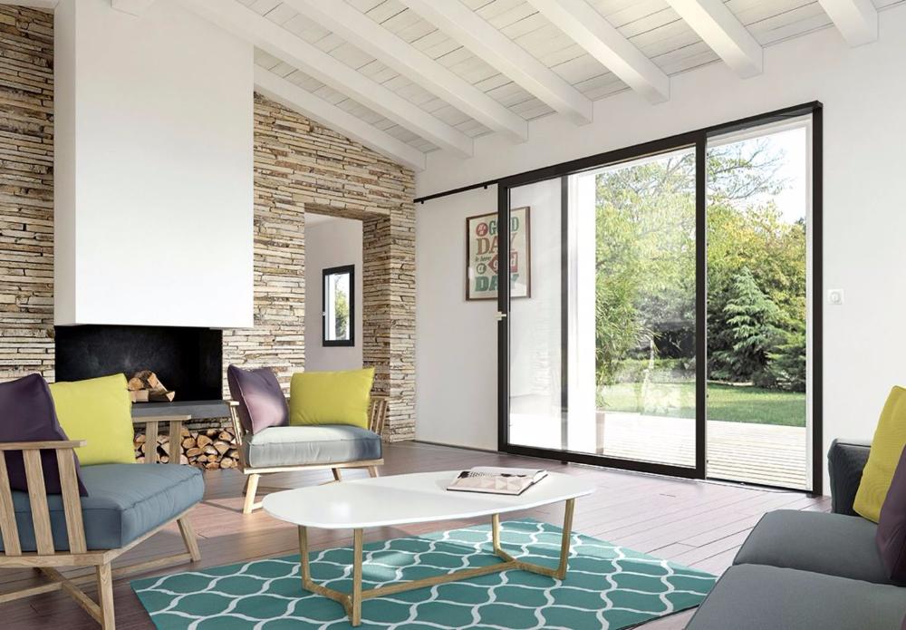 Baie Vitree Sur Rails A Galandage Seuil Extra Plat Baies Vitrees Maison Contemporaine Decoration Maison
