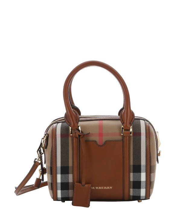 36f3df719ba4 Burberry brown house check canvas small  Alchester  convertible bowling bag