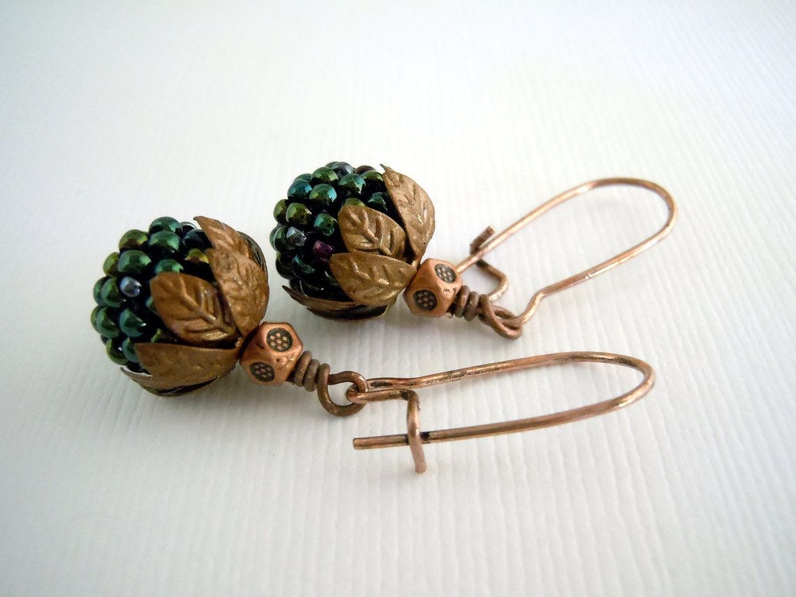 Copper and Peacock Green Beaded Bead Earrings, $22.0