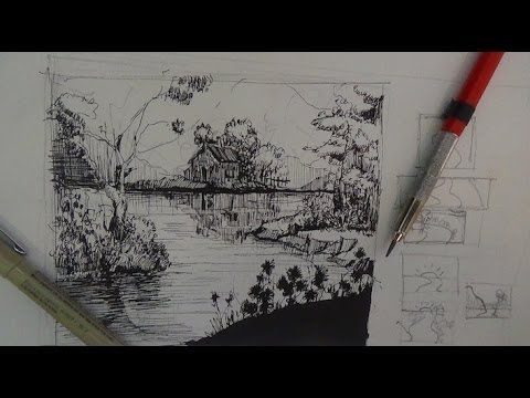 Pen ink drawing tutorials how to draw a river landscape scene play