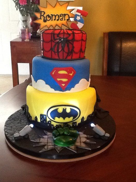 Superhero Cake Kids Fun Food Pinterest Superhero Cake