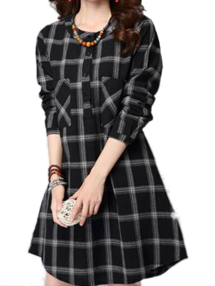 6bbf3f7437e Women Checked Long Sleeve Plaid Grid Loose Casual Dresses ...