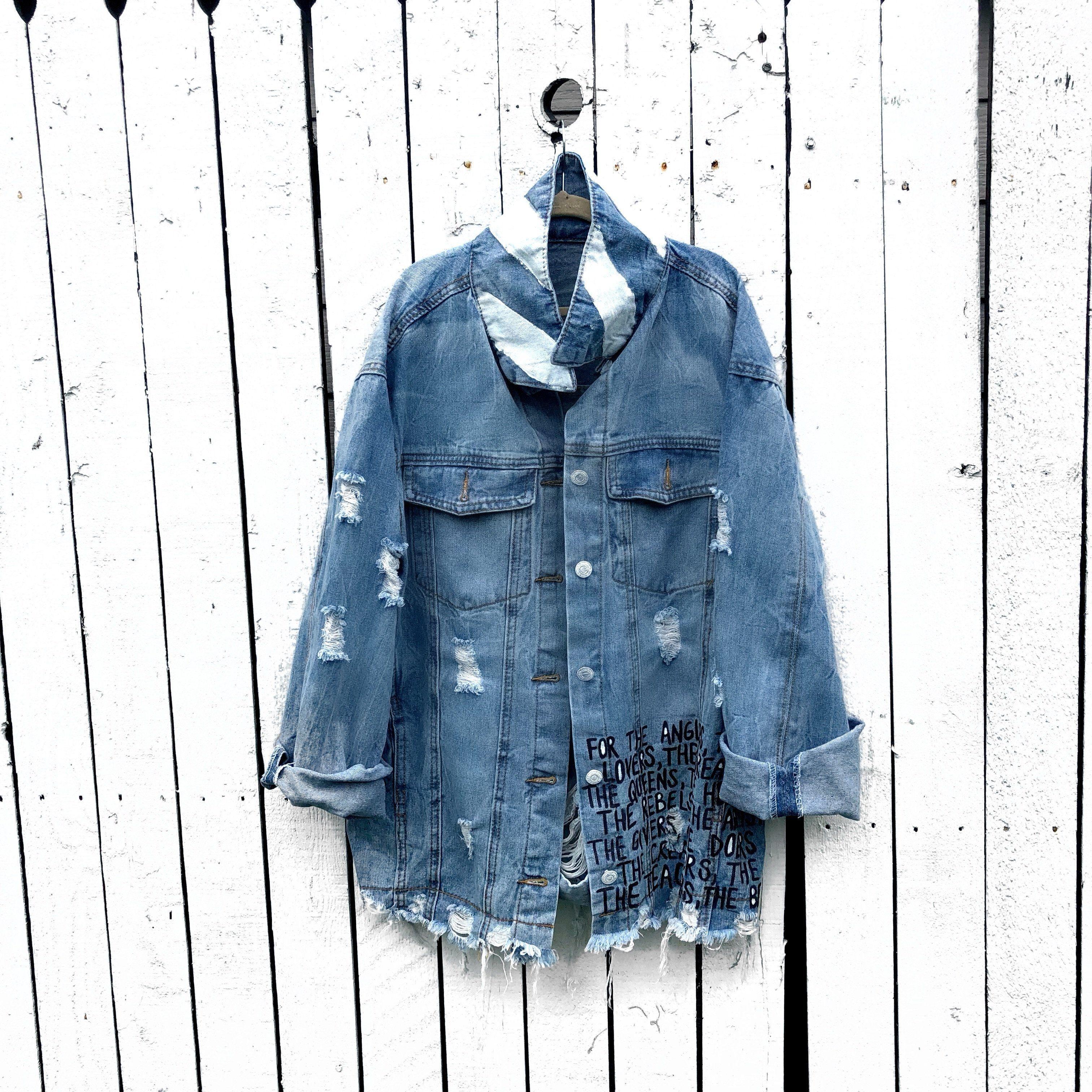 Dripping Heart Painted Jacket Jackets Painted Jacket Denim Jacket [ 3024 x 3024 Pixel ]
