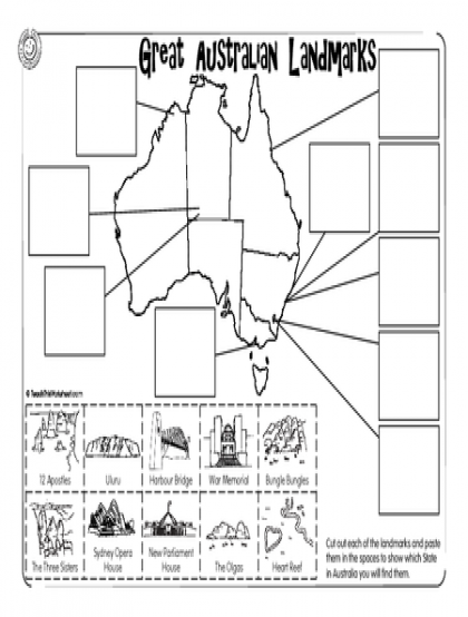 Great Australian Landmarks … Geography worksheets