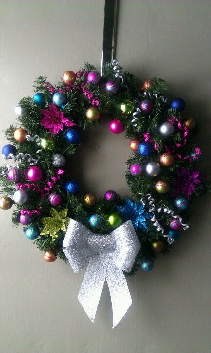 Home made Wreath with clearance bulbs and bow from Micheals and