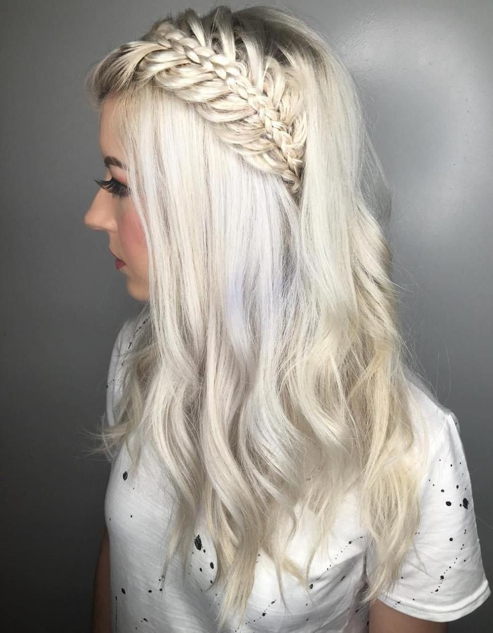 Platinum Blonde Hairstyle With Half Up Braid Haircuts