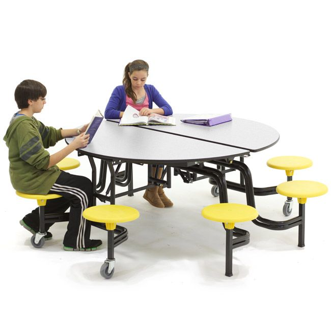Mobile Stool Table W Round Top Cafeteria Table Round Back Dining Chairs Table