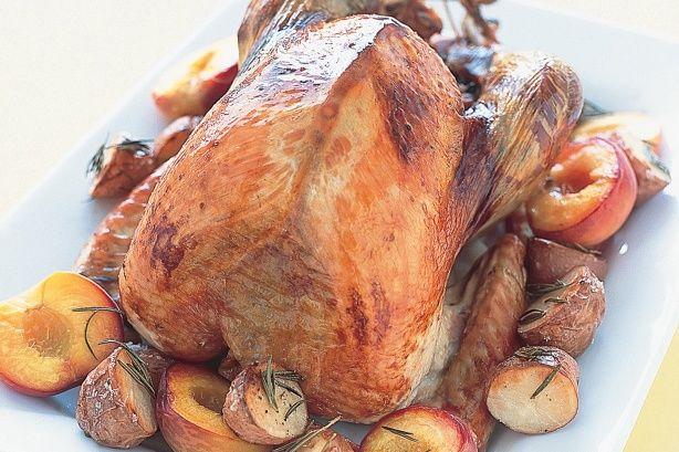 roast turkey with rosemary potatoes peaches