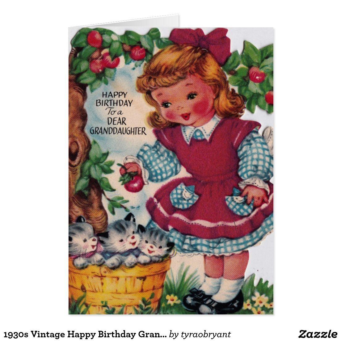 1930s Vintage Happy Birthday Granddaughter Card Zazzle