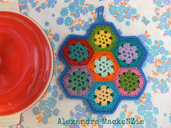 Hexi Pot Holder Pattern Crochet Oven Mitt Hot Pad Heat Mat Pdf