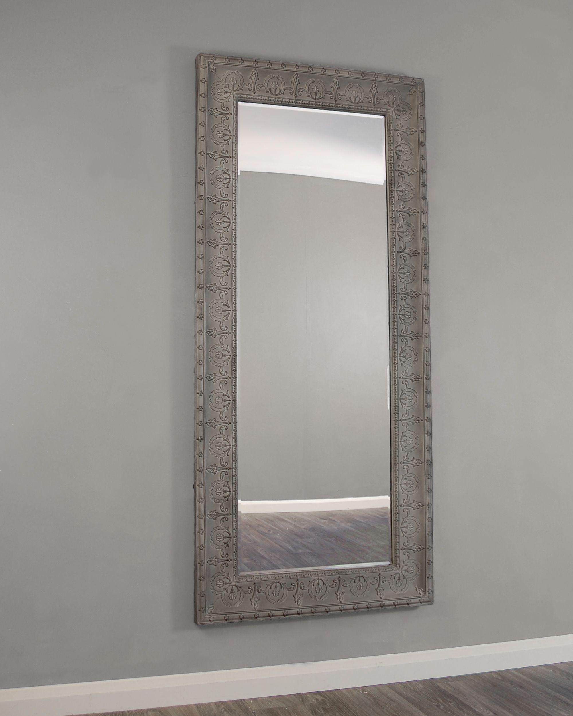 kirkham mirrors kirkham large grey embossed metal framed bevelled glass wall mirror