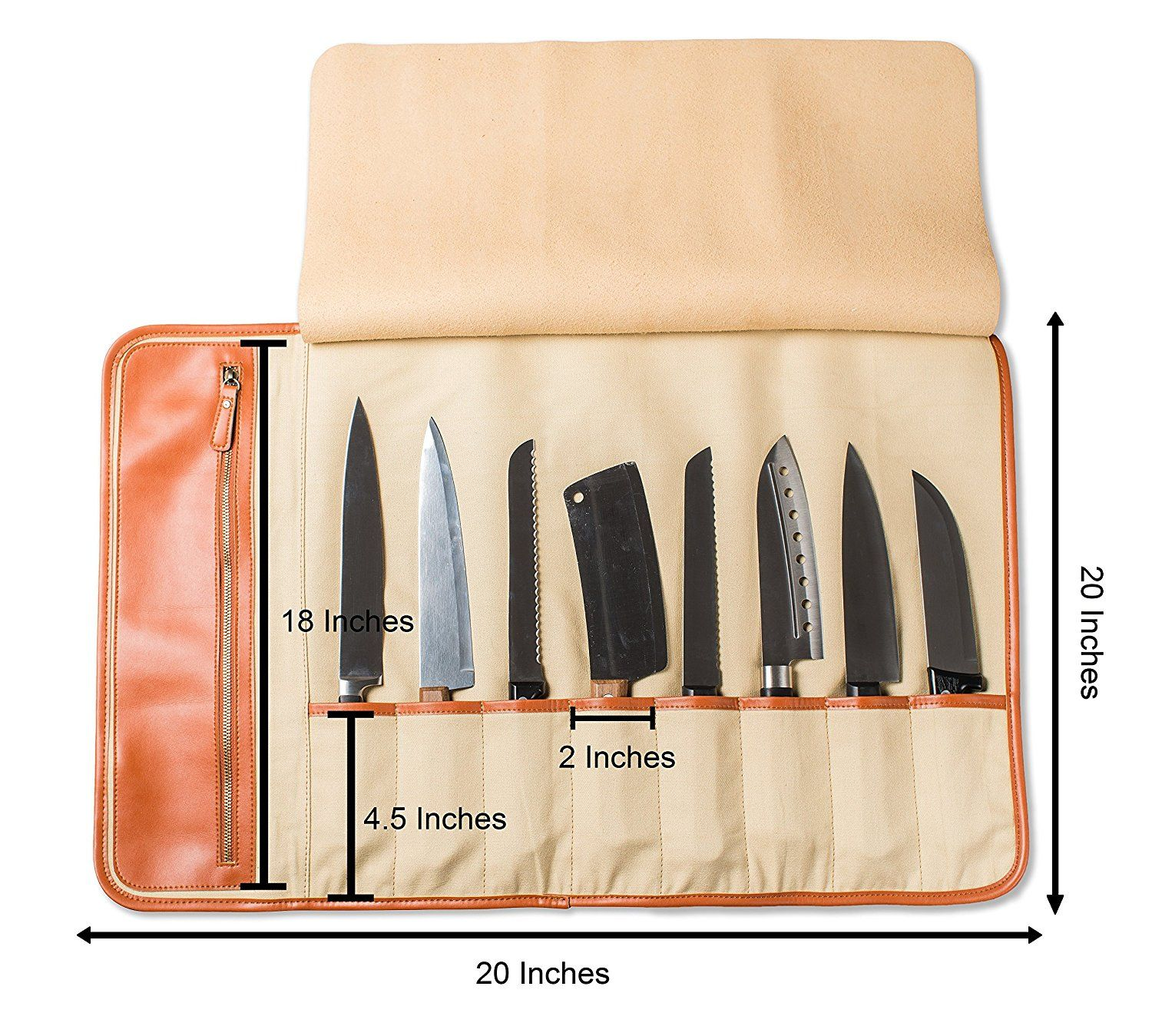 amazon com everpride chef s knife roll up storage bag 8 pocket amazon com everpride chef s knife roll up storage bag 8 pocket carrier stores 8 knives plus a zipper for kitchen utensils top quality portable chef