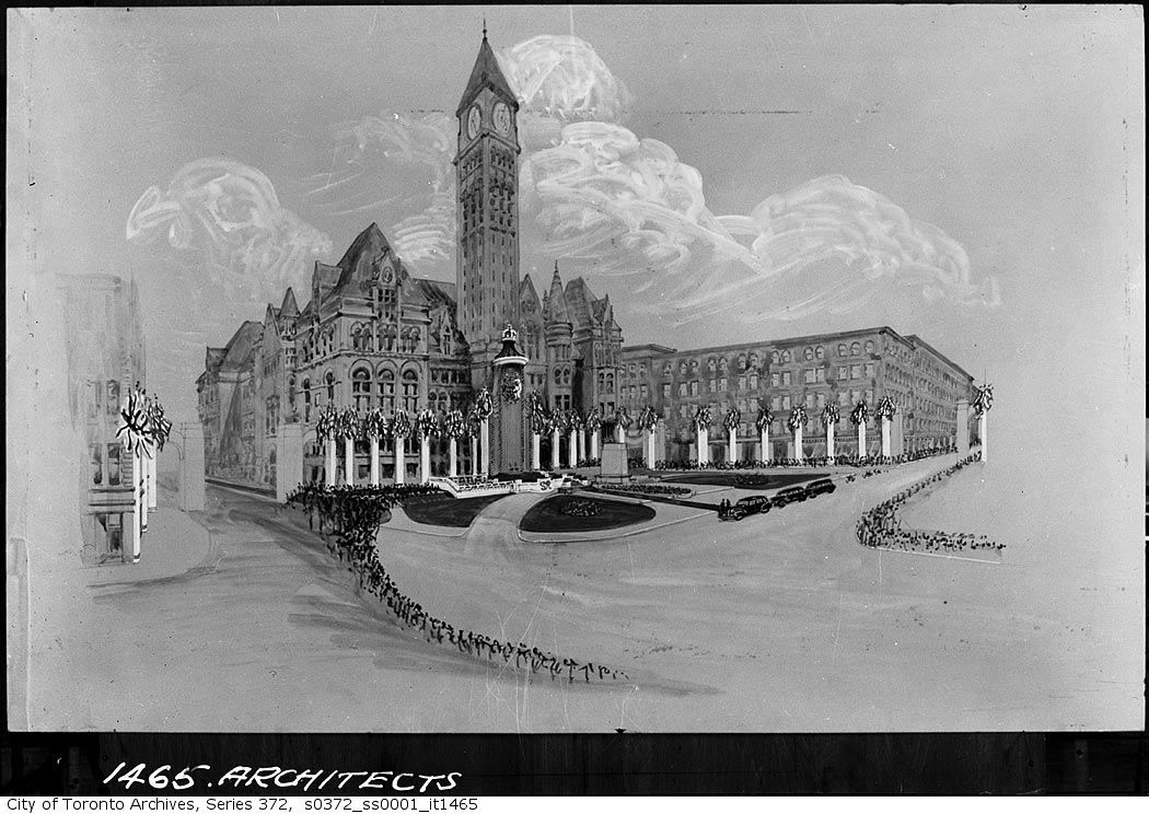 Drawing of Toronto's city hall all decked out for the visit of King George VI and his wife in 1939.
