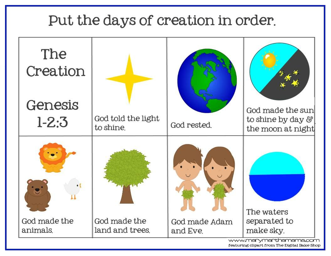 Creation Bible Story For Preschoolers Activity Pack
