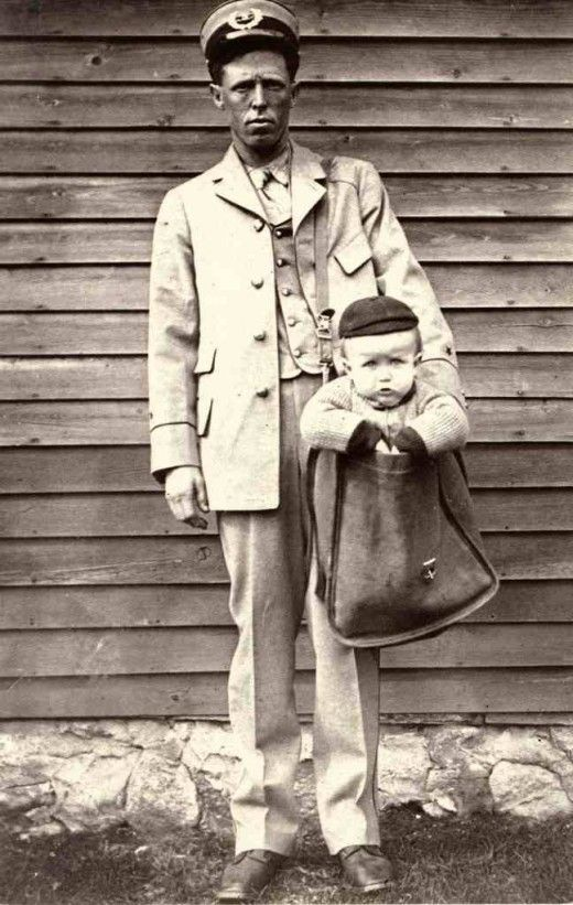"""SENDING A CHILD THROUGH THE POST, 1900    """"After parcel post service was introduced, at least two children were sent by the service. With stamps attached to their clothing, the children rode with railway and city carriers to their destination. The Postmaster General quickly issued a regulation forbidding the sending of children in the mail after hearing of those examples."""""""