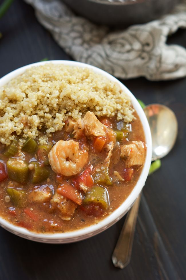 healthy Spice and Chicken Gumbo has a velvety sauce, served over quinoa and is ready in only 30 mins