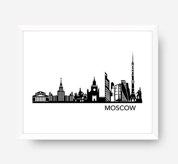 Moscow Skyline Moscow Russia Cityscape Printable Digital Download