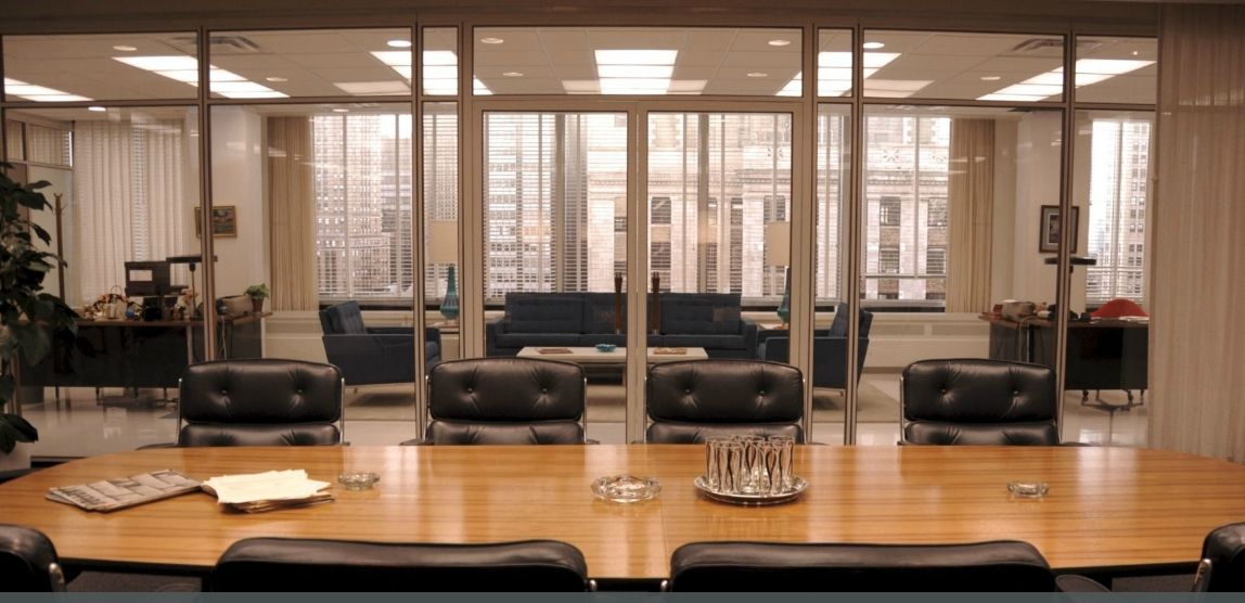 the mcm offices of mad men conference room area office furniture