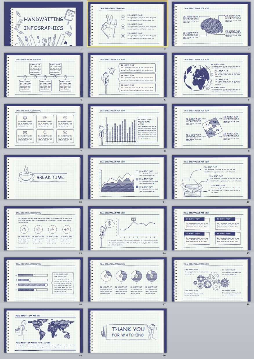 20 Handwriting Infographics Powerpoint Template W E W O R K