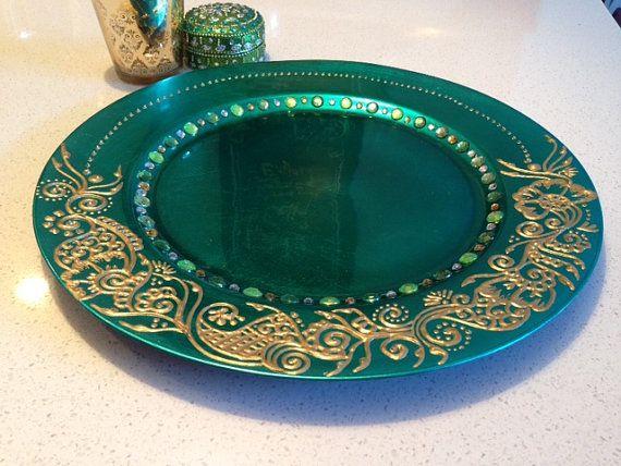 Mehndi Plates Uk : Green gold mehndi plate set henna for weddings