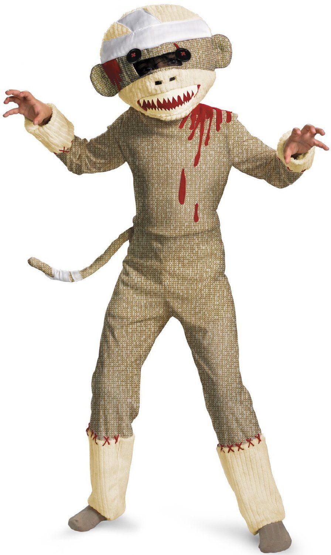 Zombie Sock Monkey Scary Costume Halloween Fancy Dress