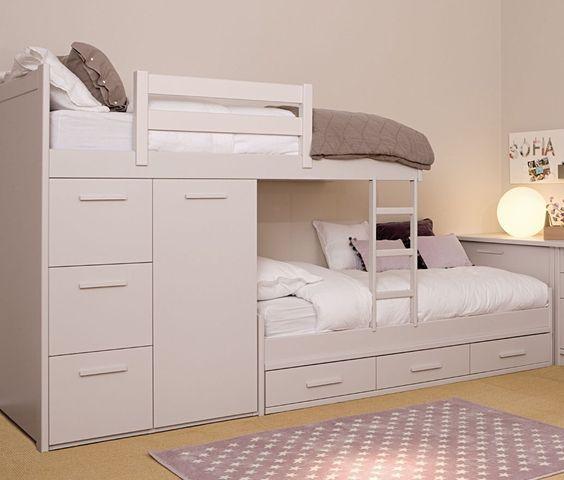 Cama tren con armario y cajones gran variedad de acabados habitaciones gemelares habitacion - Camas tren para ninos ...