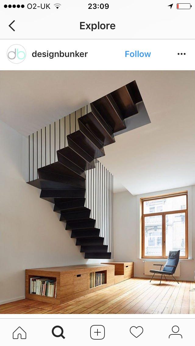 Hanging stair   Staircase design, Stairs design ...