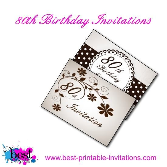 Free Printable 80th Birthday Party Invitation Cards
