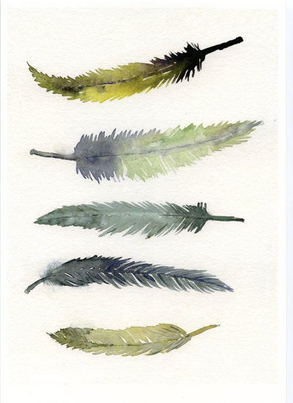 Print of Feathers - from original watercolor painting - 5 Bird feathers - hand painted watercolor  - Modern art -  Children Art -