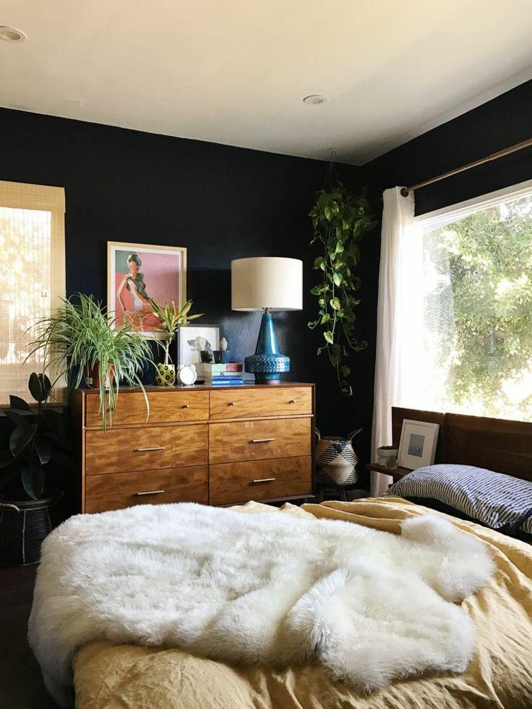 Farben für Akzentwände - dunkle Farben für das Schlafzimmer ...