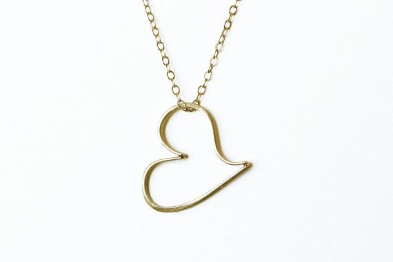 Vintage Gold Floating Heart Necklace vintage gold by 716Buffalos, $20.00