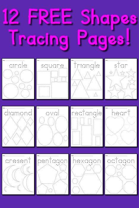 12 FREE Shapes Tracing Worksheets! | Geometría, Actividades ...