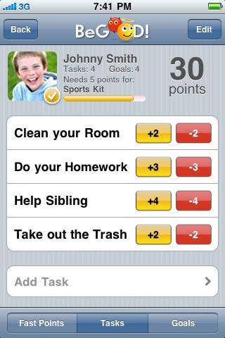 BeGOOD! by Jorge Martinez Rosado BeGOOD!™ is a behavior reward point system that allows you to set goals and tasks, keep track of good behavior and reward your kids, at all times,