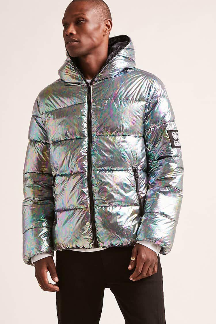 Very Goods Hooded Iridescent Puffer Jacket Forever21 Jackets Puffer Jackets Mens Tops [ 1125 x 750 Pixel ]