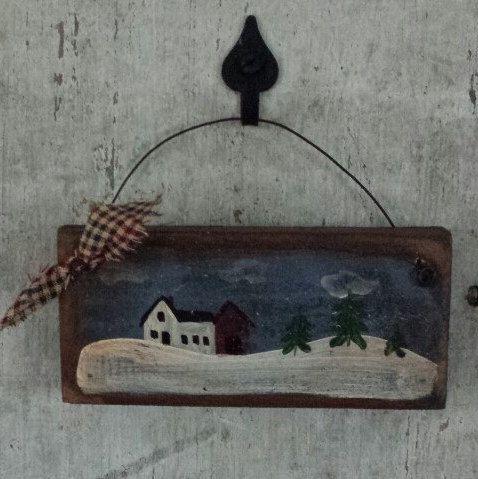 Primitive Country Winter Scene Farm House Rustic Decor