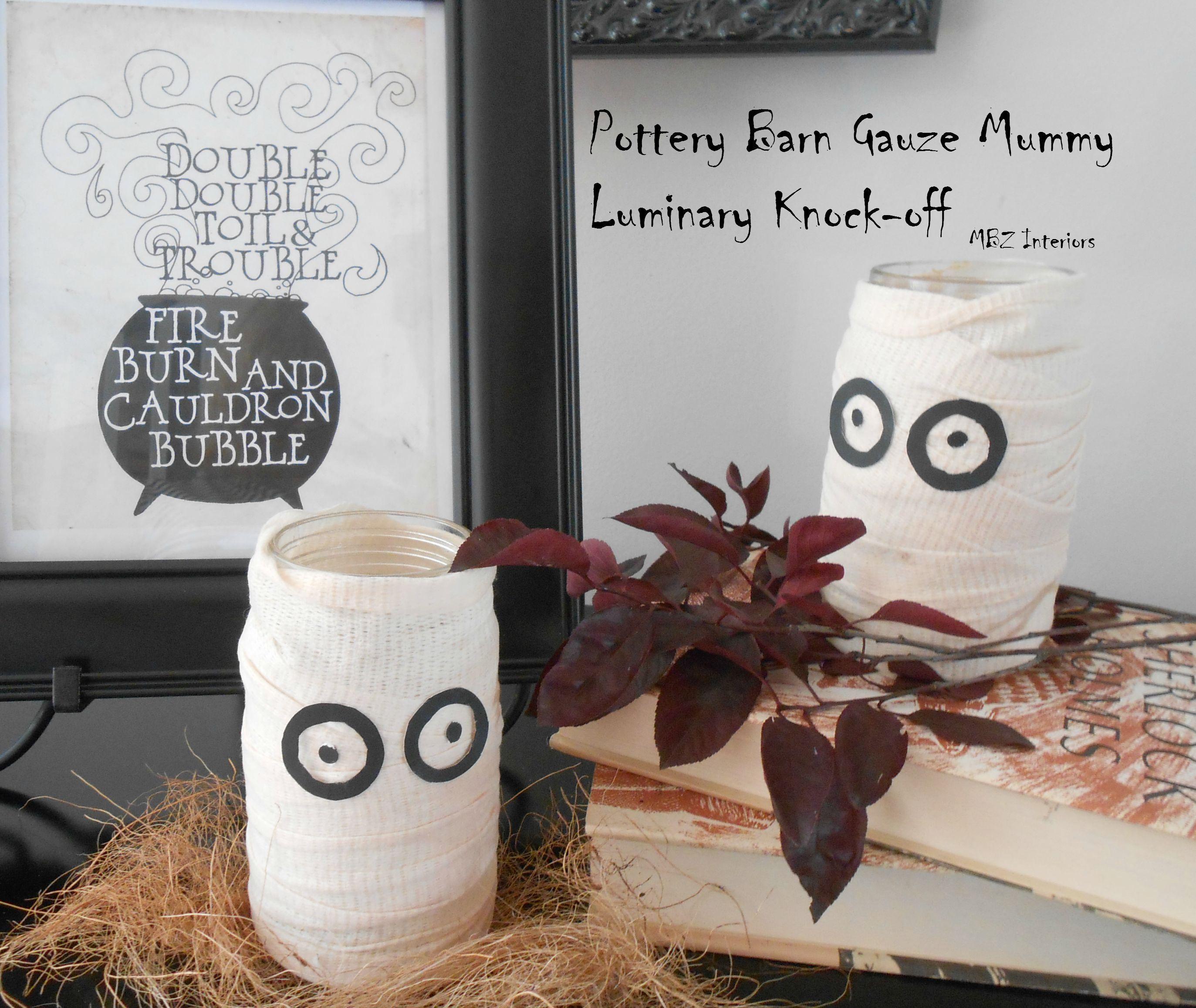 pottery barn gauze mummy luminary knock-off décor for Halloween - halloween diy decor
