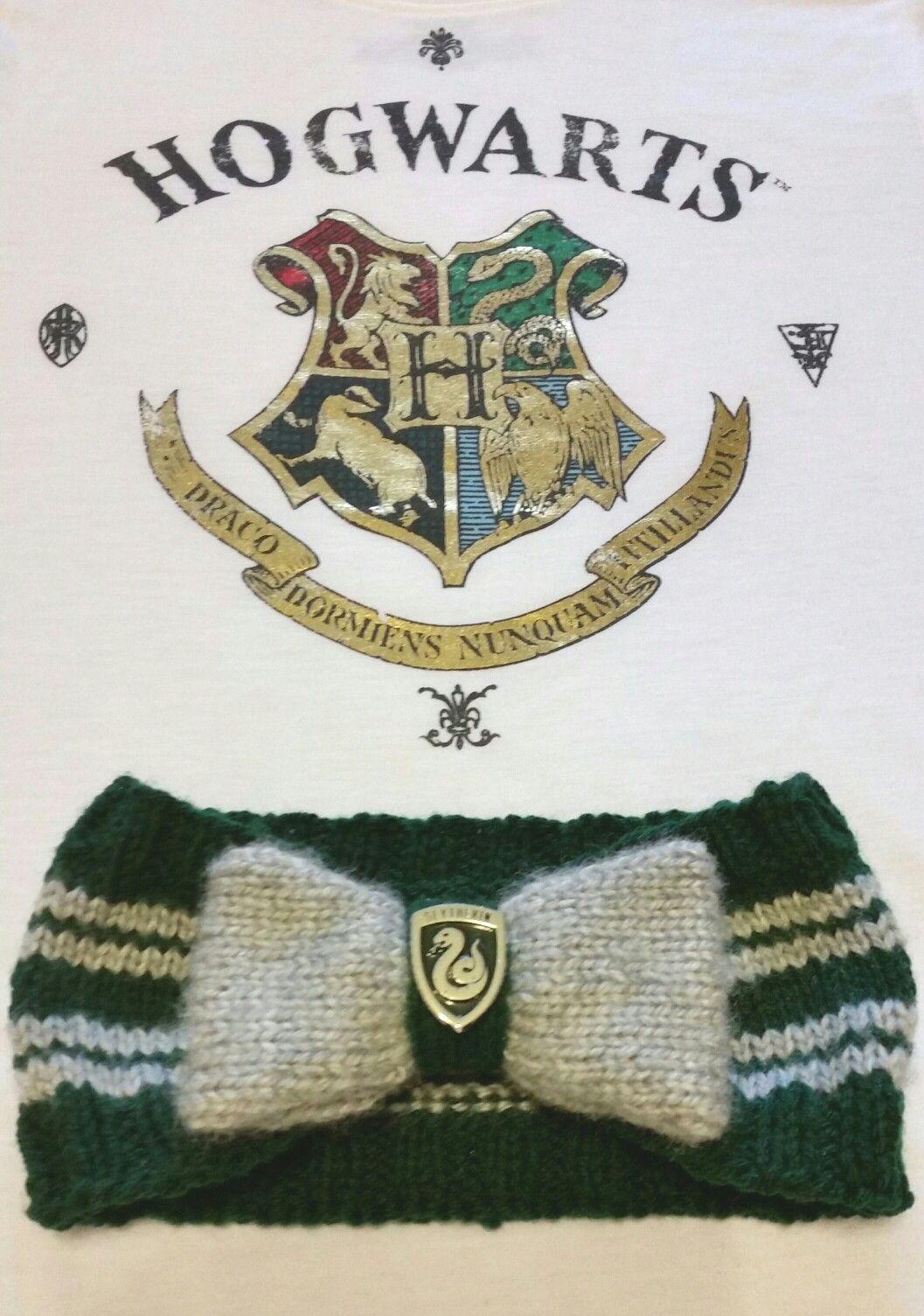 Harry Potter knitted Slytherin bow headband earwarmer. Emerald green ...