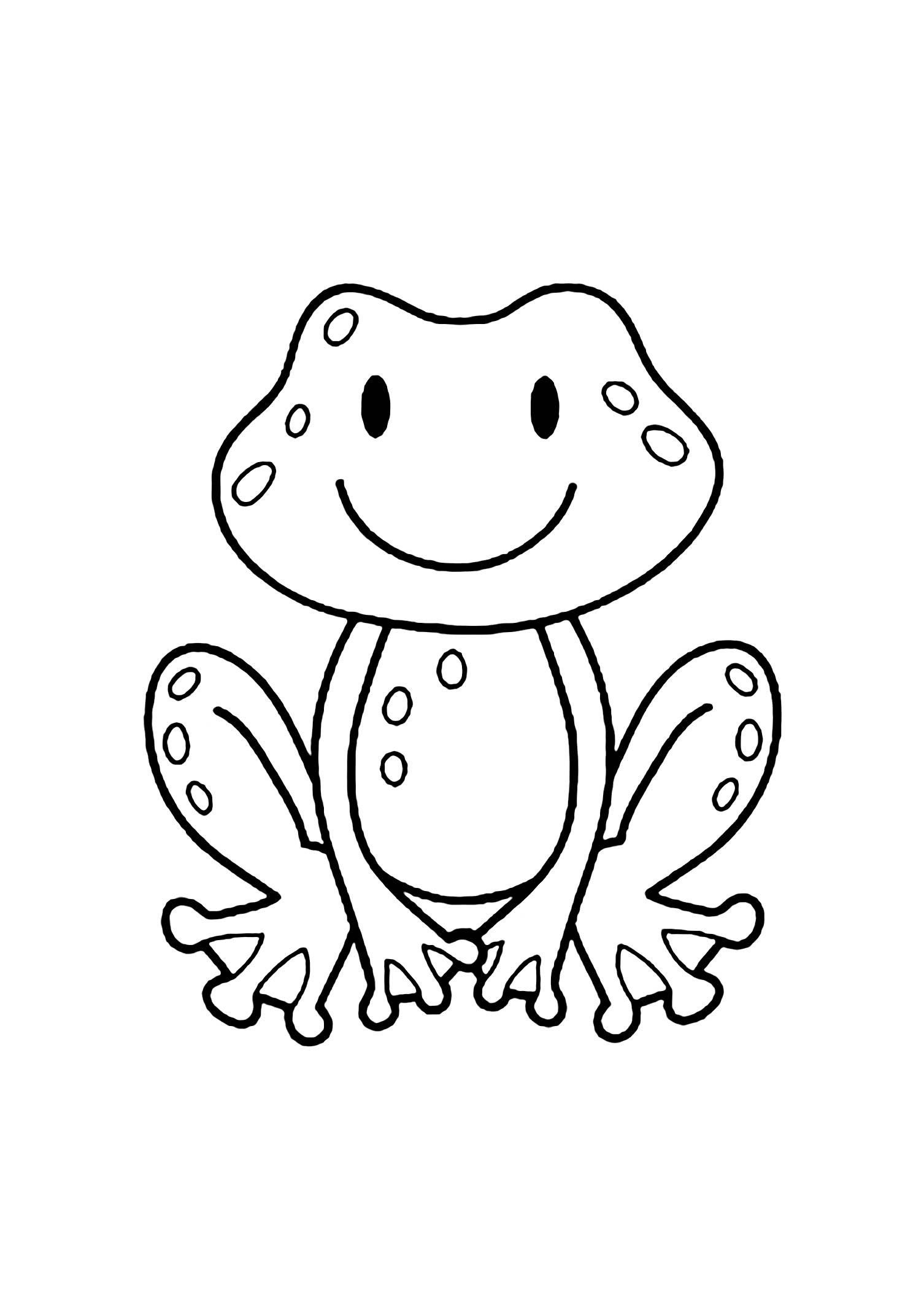 Simple Coloring Page for Kid Frogs to Color for Children