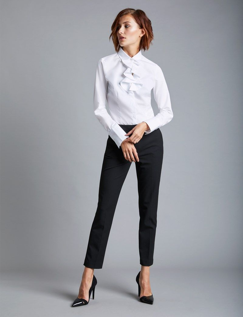 303cc7576e Women's White Fitted Shirt with Neck Frill Detail - Single Cuff in ...