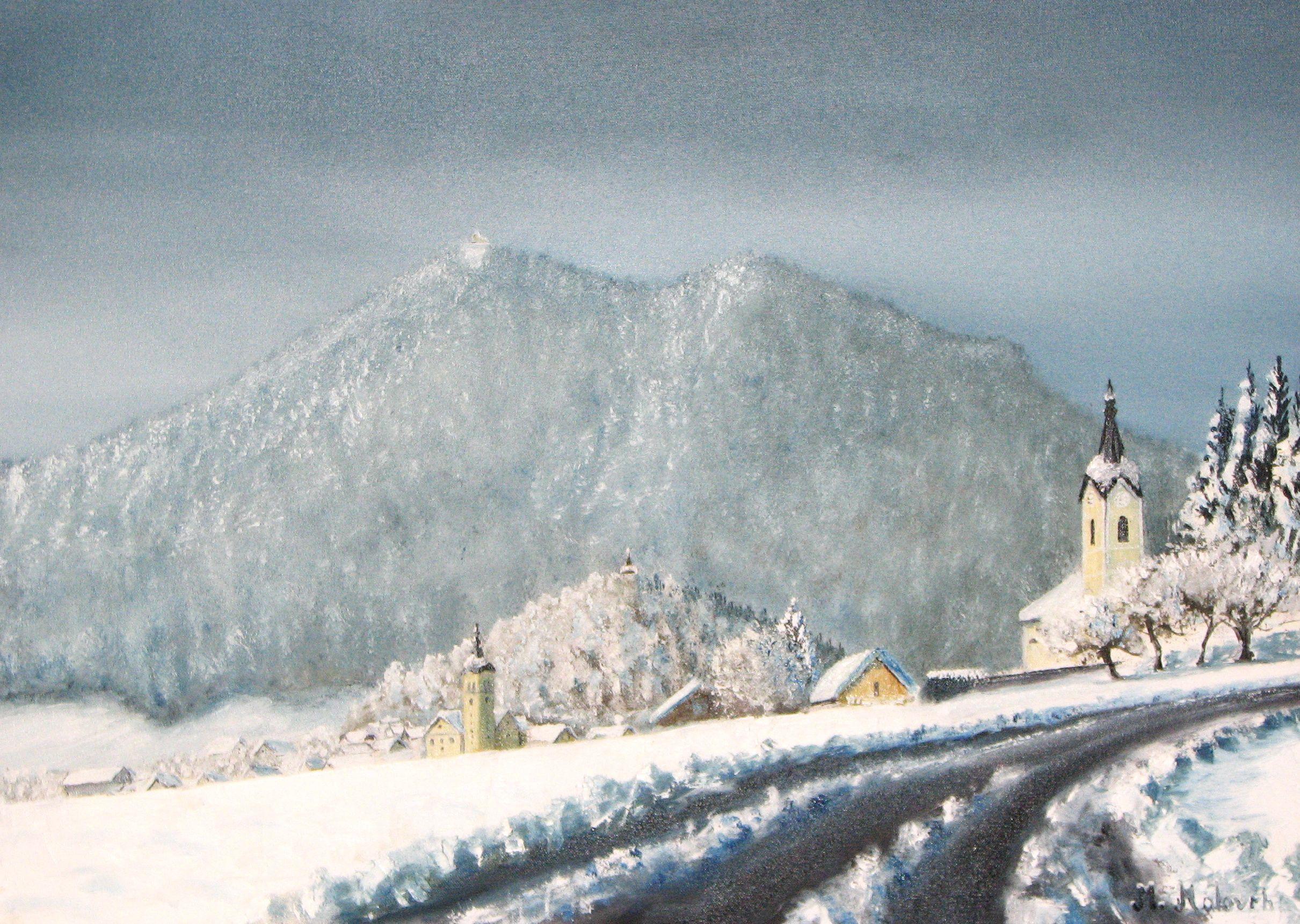 Winter Polhov Gradec - oil on canvas
